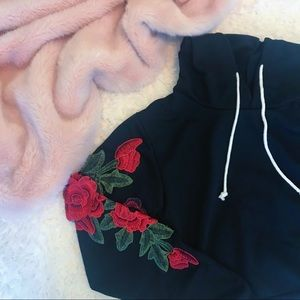 NWOT Cropped Black Rose Sweatshirt